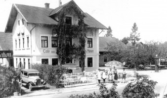 Cafe Mayer 1930, erbaut 1896, Münchener Straße, heute Bäckerei-Konditorei-Café