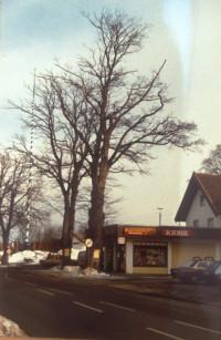 Münchener Straße mit Kiosk und Einfahrt zum alten Bahnhofsplatz, 1978